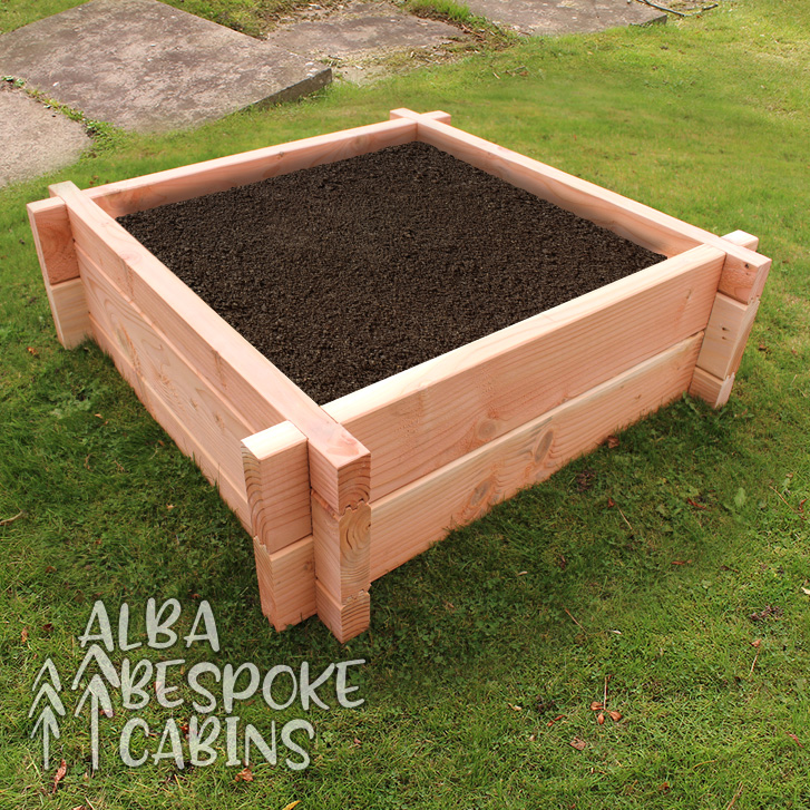 Square raised bed made from Douglas Fir. Douglas Fir lasts twice as long as other timbers. The bed is 1000mm to the outside of each edge, and the height is 300mm.