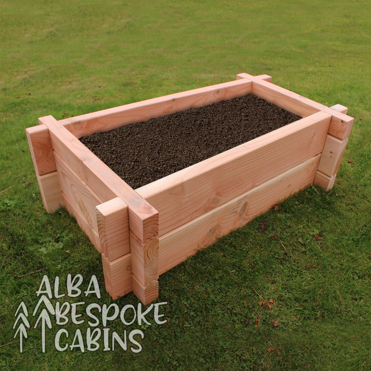 Rectangular raised bed made from Douglas Fir. Douglas Fir lasts twice as long as other timbers. The bed is 1000mm x 600mm to the outside of each edge, and the height is 225mm.